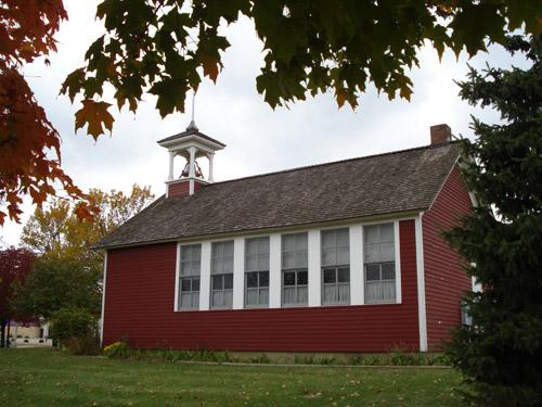 """The """"Little Red School"""" in Cedar Falls, Iowa."""