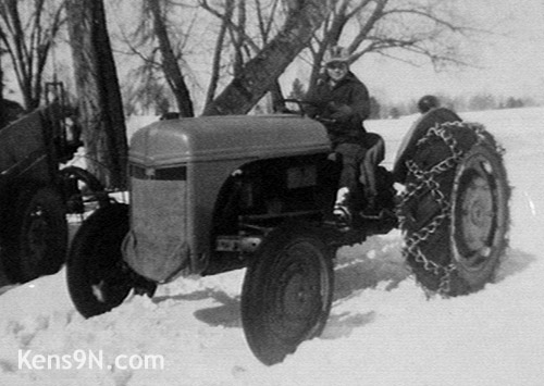 Ken pilots his father's tractor on a cold winter day.