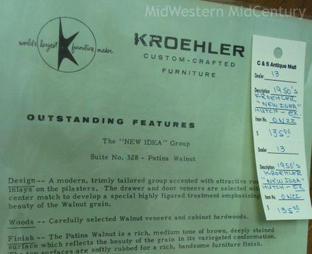 Kroehler New Idea Group fact sheet. - Midwestern Midcentury: Geneseo Antique Store Features 1950s Buffet