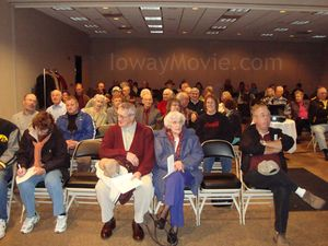 "A crowd gathers in Ottumwa, Iowa for an Arts Council showing of ""Lost Nation: The Ioway."""