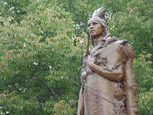 The statue of Ioway leader Mahaska (White Cloud) in Oskaloosa Iowa is 100 years old on Tuesday May 12, 2009.