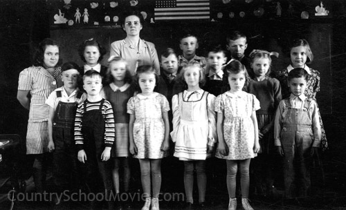 One-room school class photo.