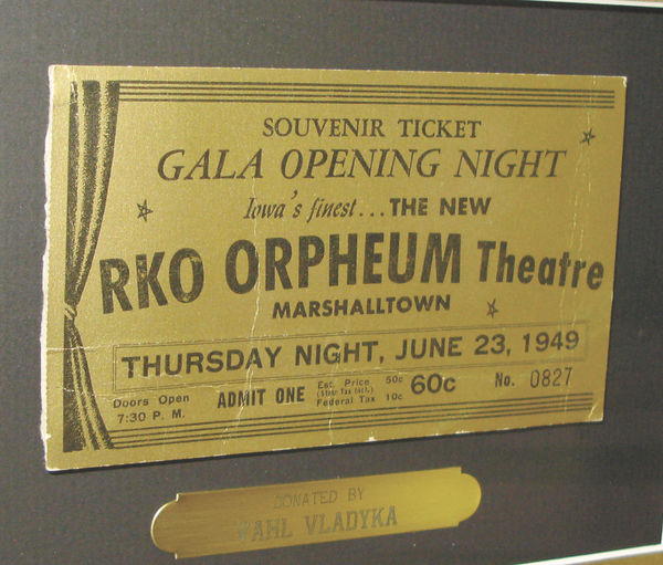 A ticket from the Orpheum Theater's opening night in 1949.