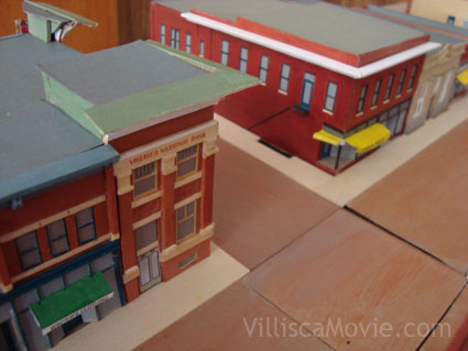 Scale model of Villisca's city square circa 1942.