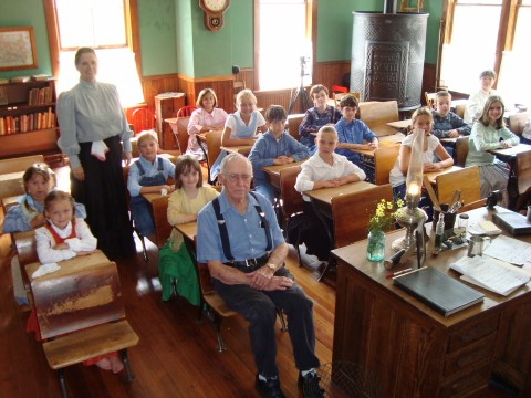 One-room school re-enactment in Taylor #4 in Marshalltown, Iowa.