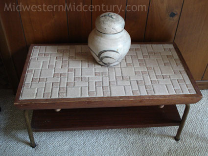 Tiled midcentury modern table.