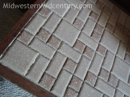 Detail of MCM tiled table top.