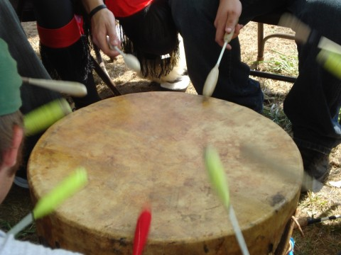 White Cloud singers drumming 2008
