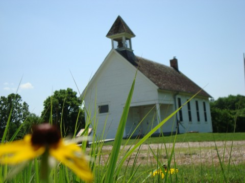Emporia KS schoolhouse with flower