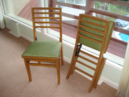 another midcentury modern bargain wooden folding chairs